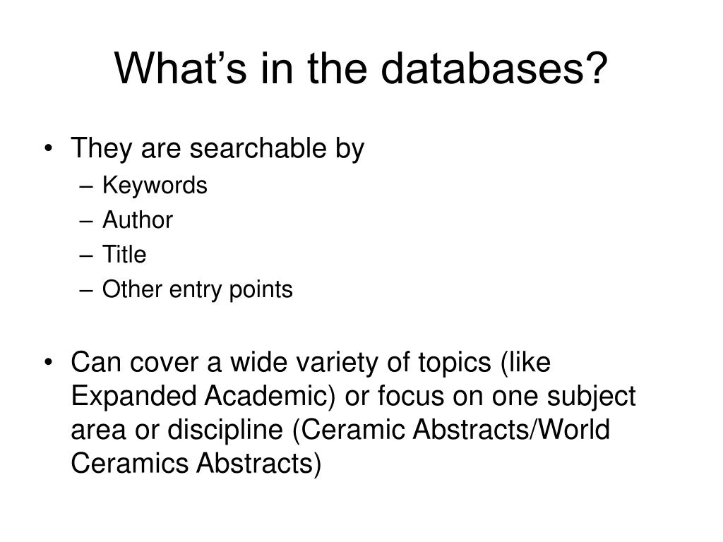 What's in the databases?