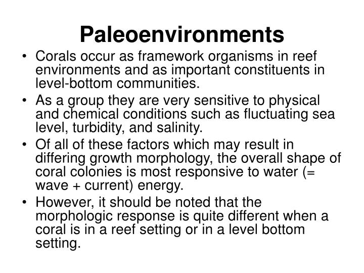 Paleoenvironments