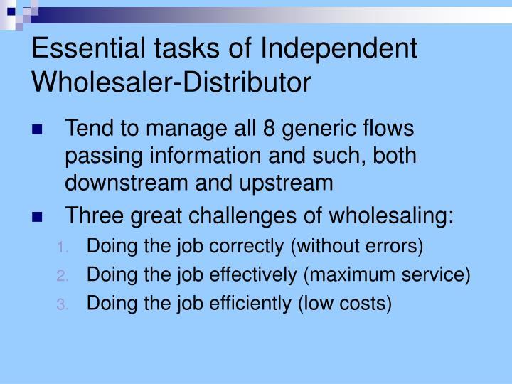 Essential tasks of independent wholesaler distributor