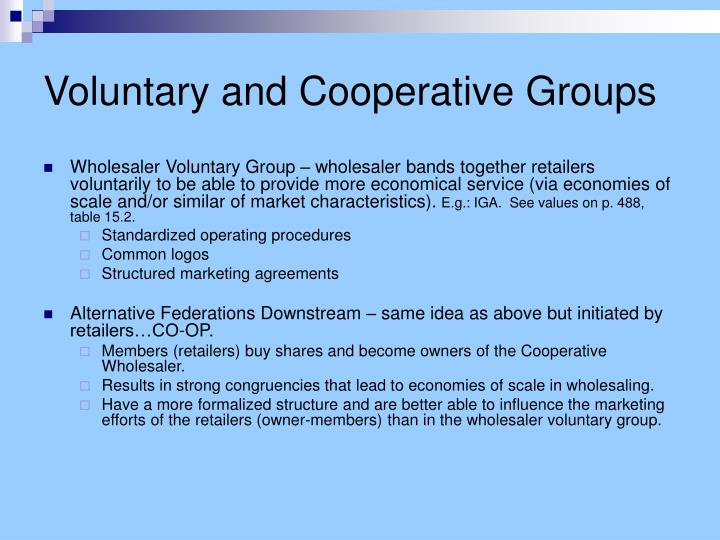 Voluntary and Cooperative Groups