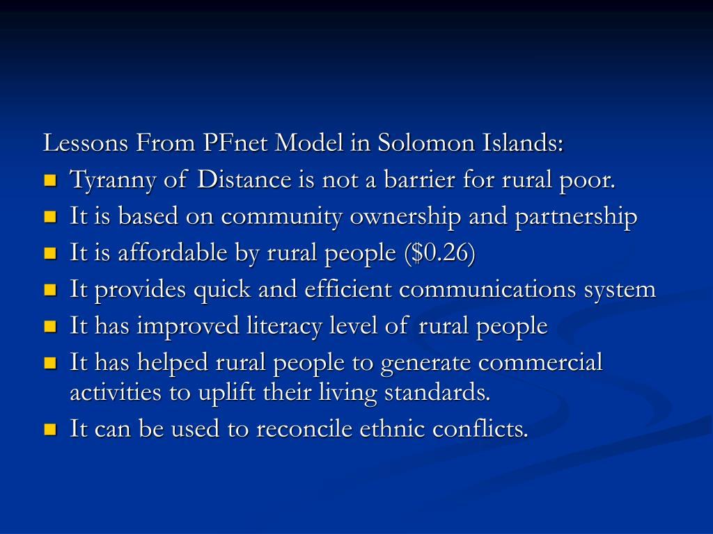Lessons From PFnet Model in Solomon Islands: