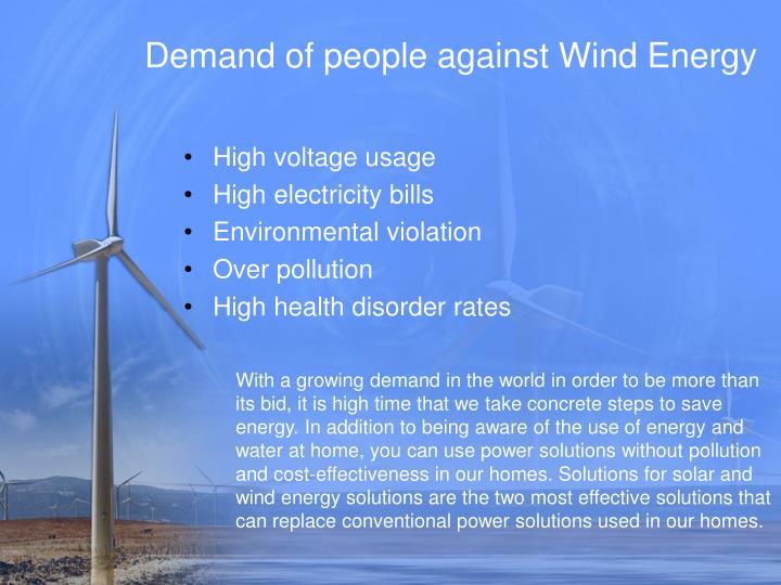 Demand of people against wind energy