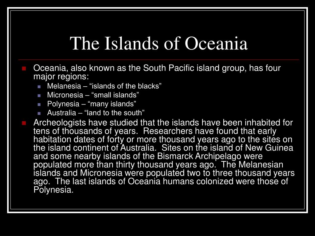 The Islands of Oceania