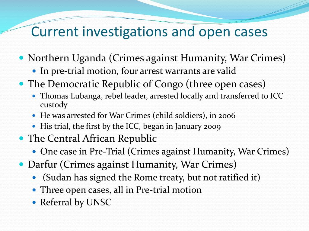 Current investigations and open cases