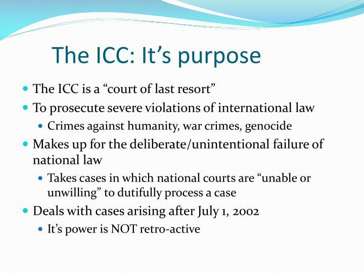 The icc it s purpose