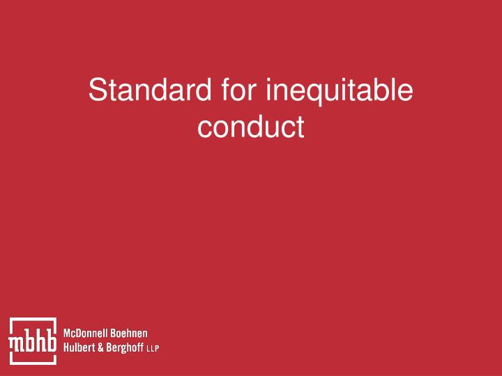 Standard for inequitable conduct
