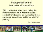 interoperability and international operations