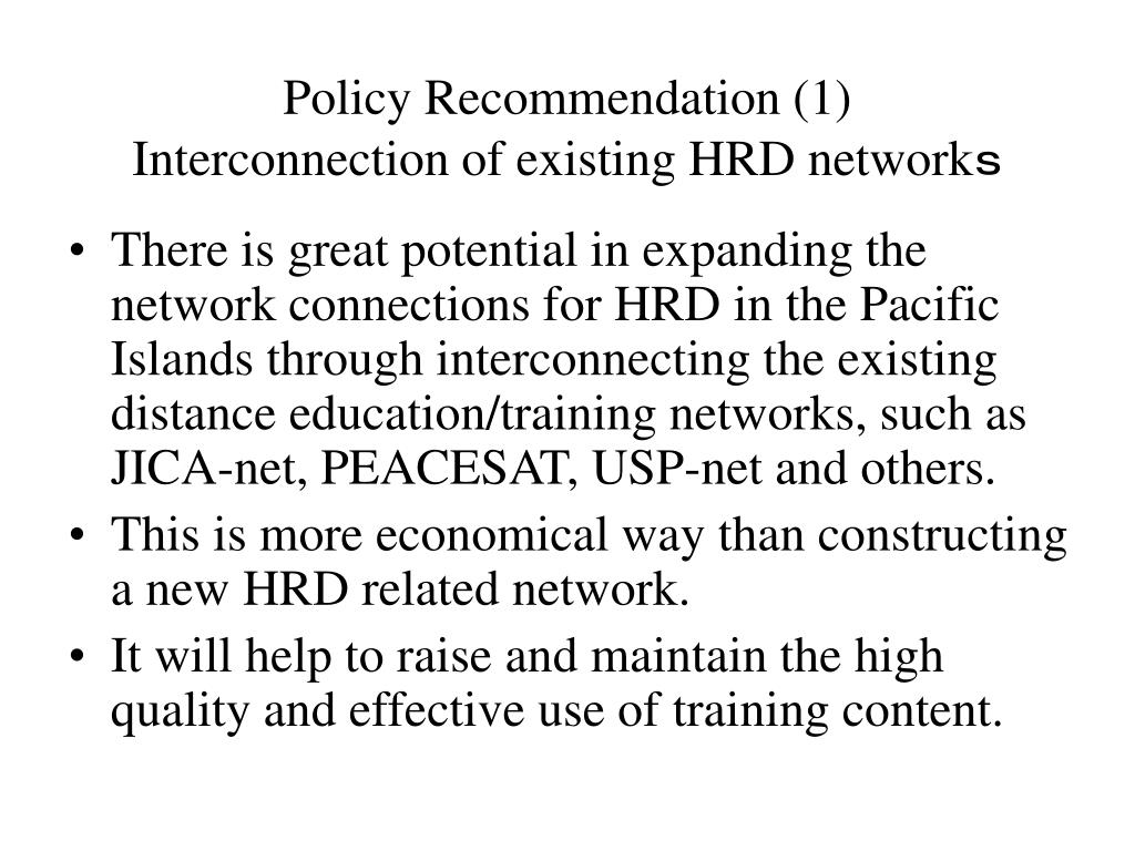 Policy Recommendation (1)