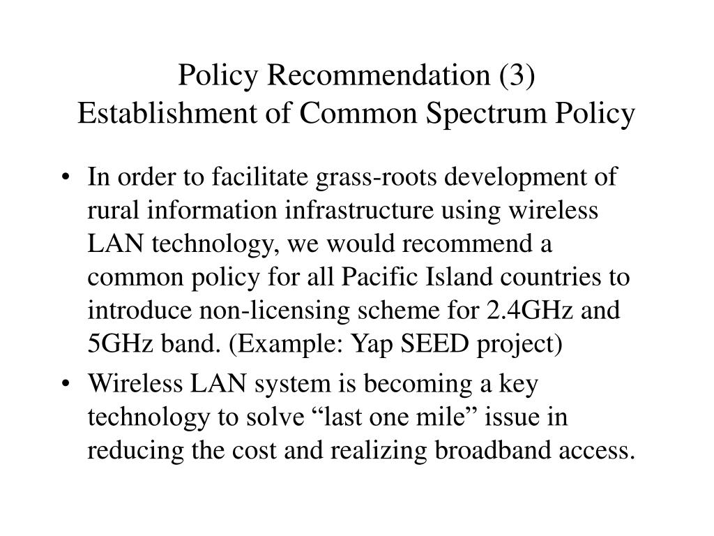 Policy Recommendation (3)