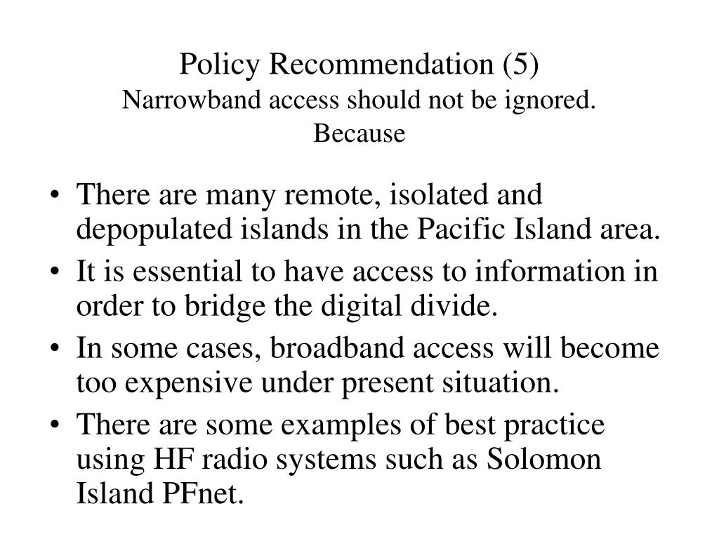 Policy Recommendation (5)