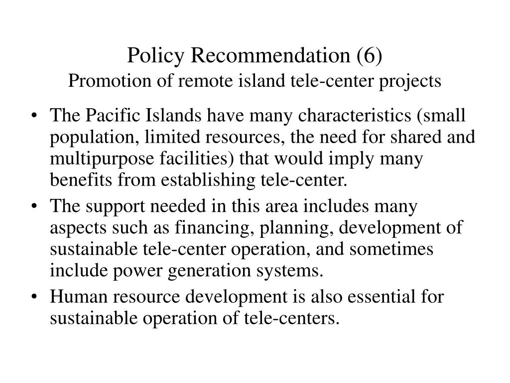 Policy Recommendation (6)