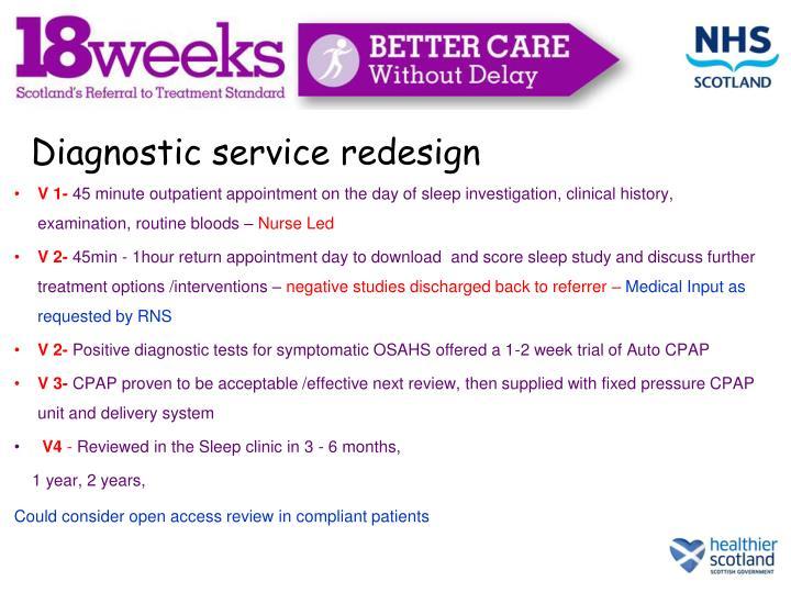 Diagnostic service redesign