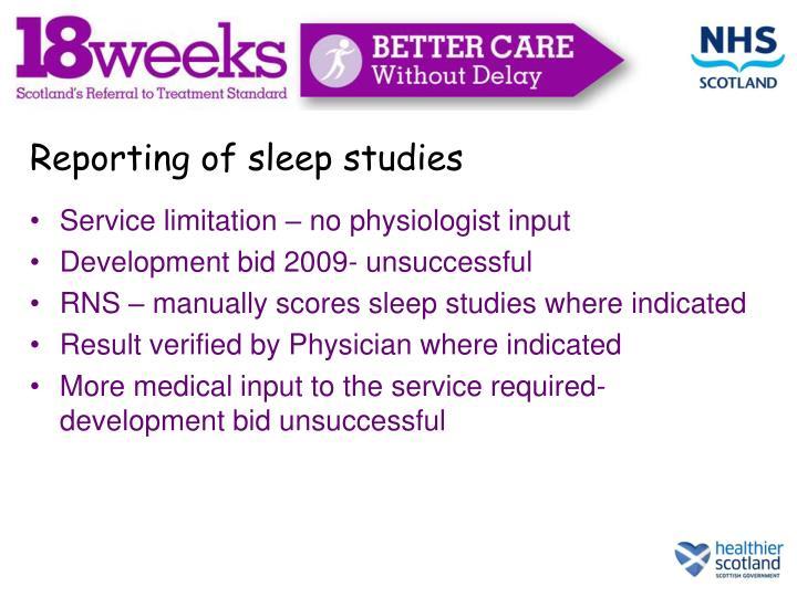 Reporting of sleep studies