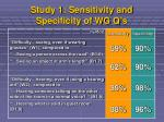 study 1 sensitivity and specificity of wg q s