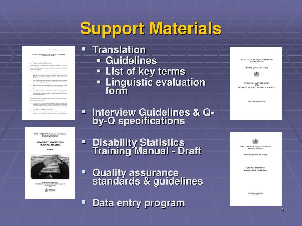 Support Materials