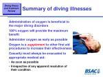 summary of diving illnesses