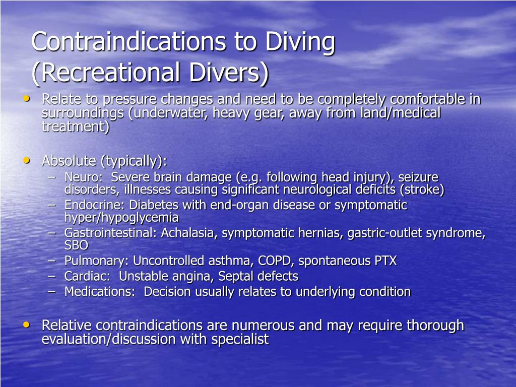 Contraindications to Diving