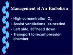 management of air embolism