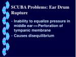 scuba problems ear drum rupture