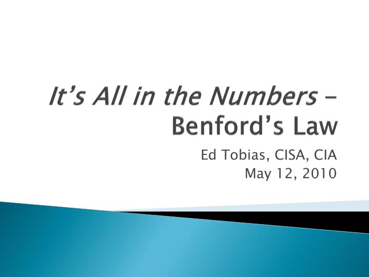 It s all in the numbers benford s law