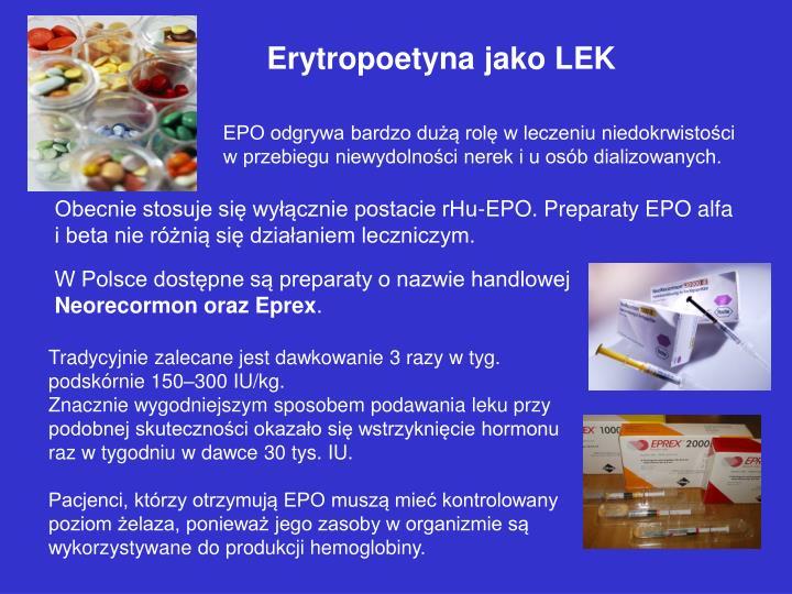 Erytropoetyna jako LEK