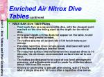 enriched air nitrox dive tables continued