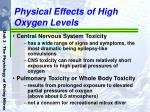 physical effects of high oxygen levels