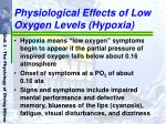 physiological effects of low oxygen levels hypoxia