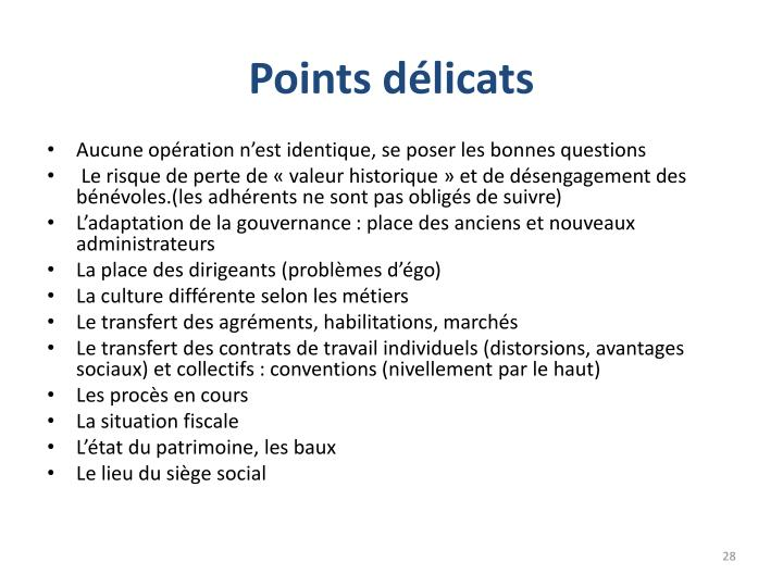 Points délicats