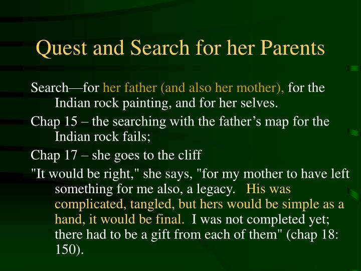 Quest and search for her parents