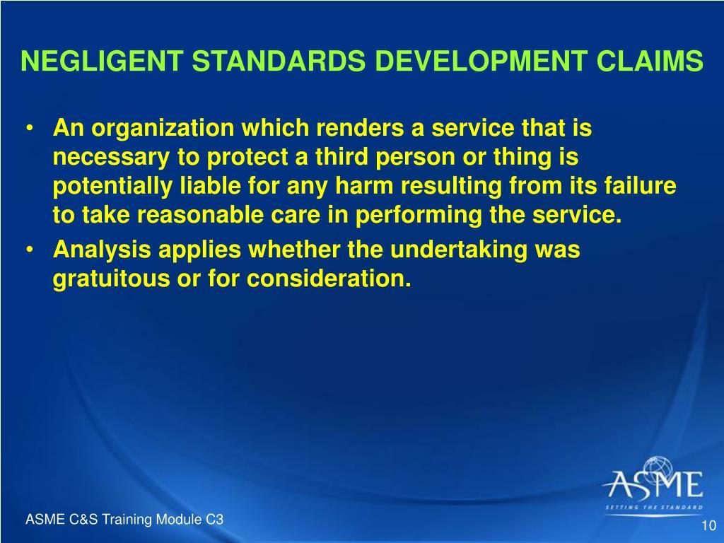 NEGLIGENT STANDARDS DEVELOPMENT CLAIMS