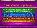 direct materials usage budget