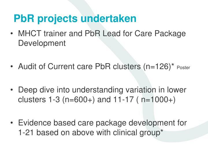 Pbr projects undertaken