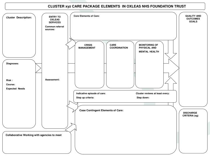 CLUSTER xyz CARE PACKAGE ELEMENTS  IN OXLEAS NHS FOUNDATION TRUST