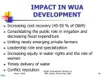 impact in wua development