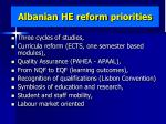 albanian he reform priorities