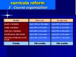 curricula reform 3 course organisation