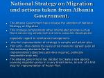 national strategy on migration and actions taken from albania government