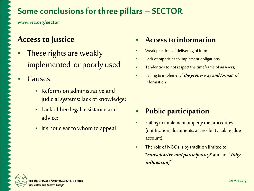 Some conclusions for three pillars – SECTOR