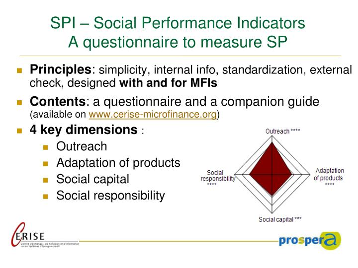 Spi social performance indicators a questionnaire to measure sp