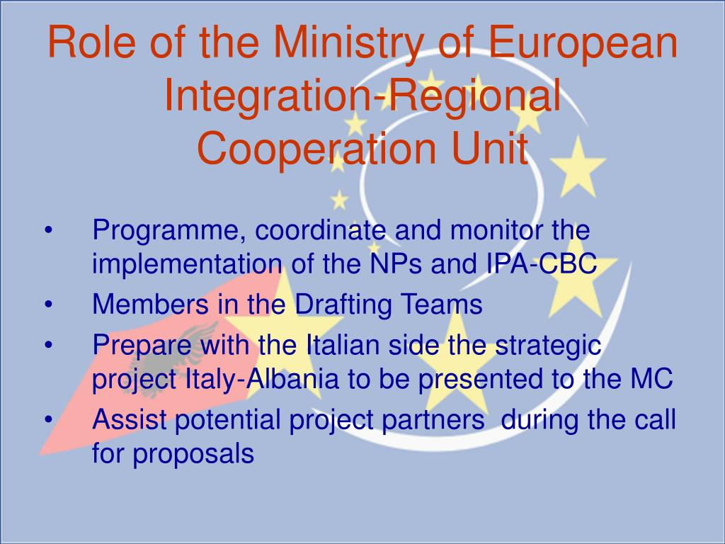 Role of the Ministry of European Integration-Regional Cooperation Unit
