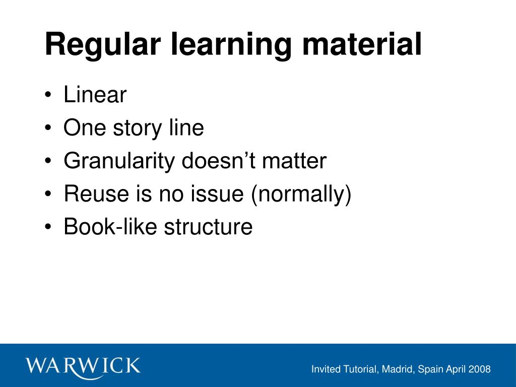 Regular learning material