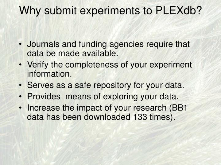 Why submit experiments to PLEXdb?