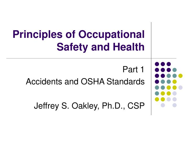principles of occupational safety and health n.
