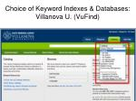 choice of keyword indexes databases villanova u vufind