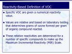 reactivity based definition of voc