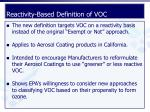 reactivity based definition of voc1