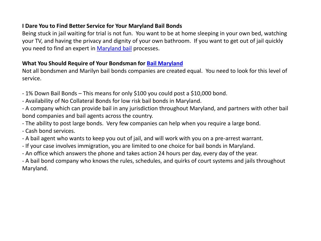 I Dare You to Find Better Service for Your Maryland Bail Bonds