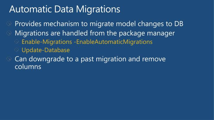 Provides mechanism to migrate model changes to DB