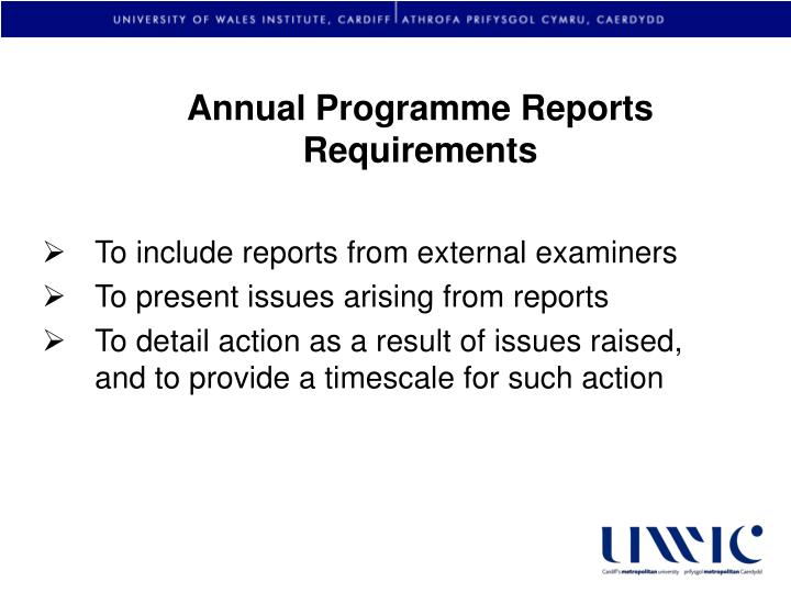 Annual Programme Reports Requirements